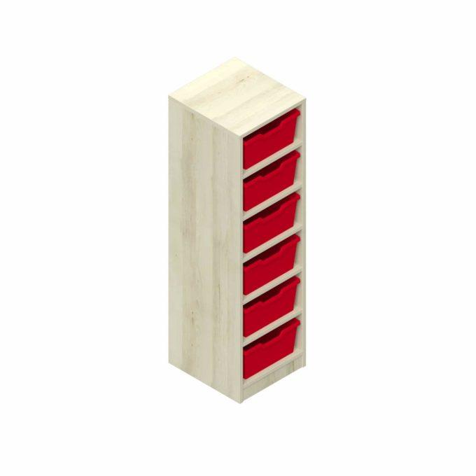 Garderobenregal - 6 offene Fächer mit 6 Kunststoffboxen 1