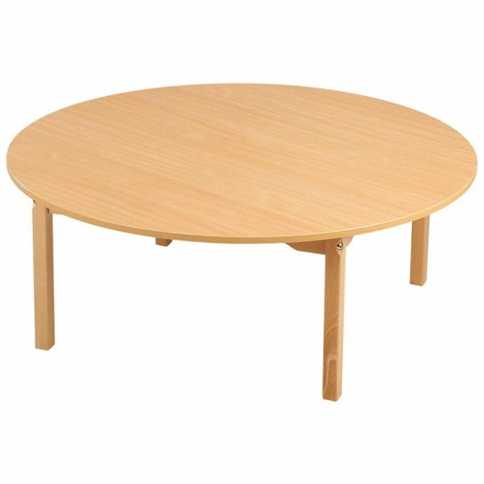 Tisch rund mit melaninbeschichteter Platte mit Beinen aus Holz 1