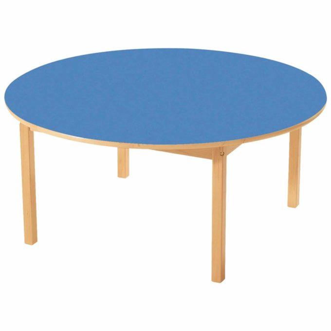 Tisch rund - mit beschichteter Tischplatte mit Beinen aus Holz 1