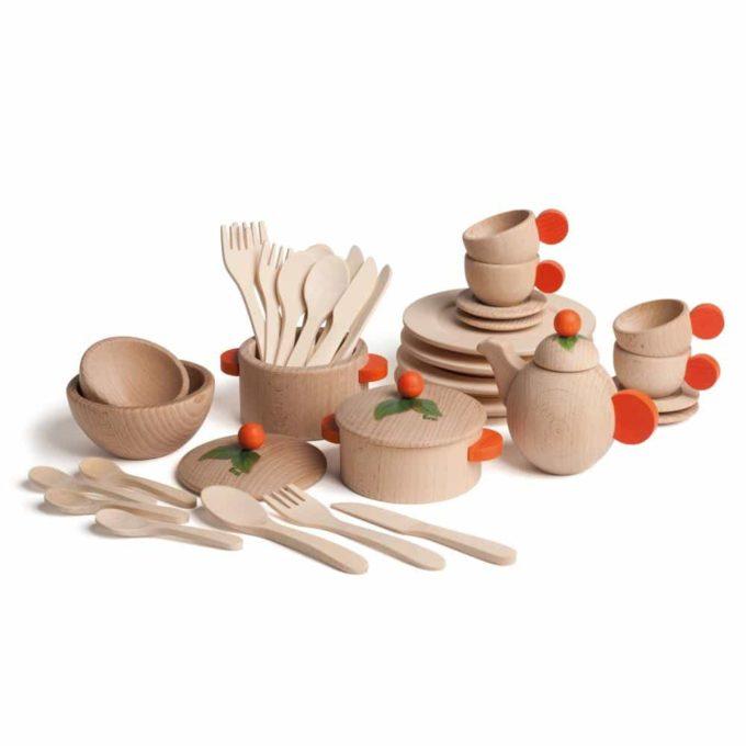 Kaufladenzubehör - Koch- und Geschirrset Natur 1