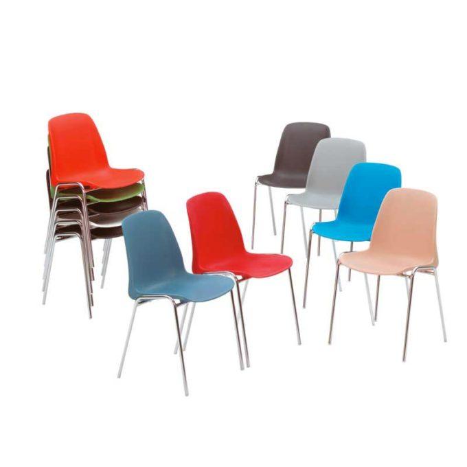 Friwa Schalen-Stapelstuhl in 11 Farben (mit oder ohne Reihenverbindung) 2