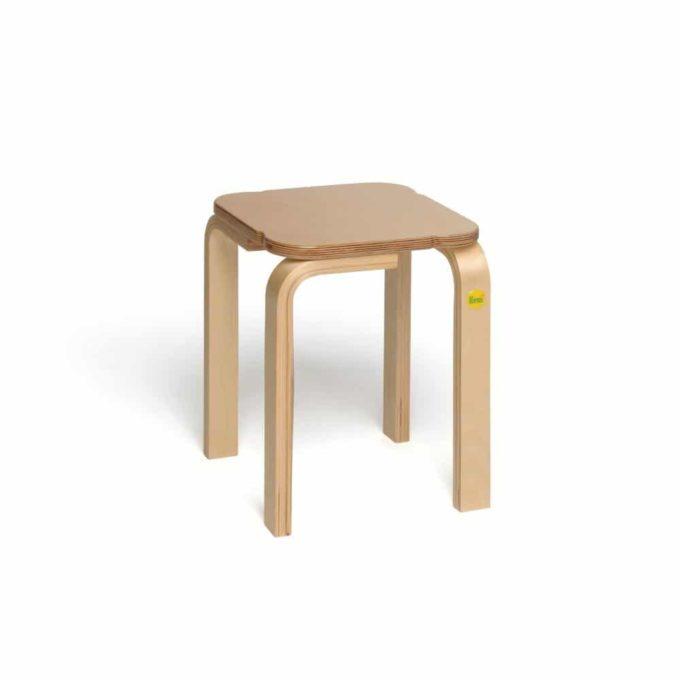 Holz-Hocker mit quadratischer Sitzfläche 7