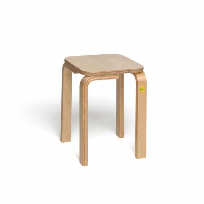 Holz-Hocker mit quadratischer Sitzfläche 6