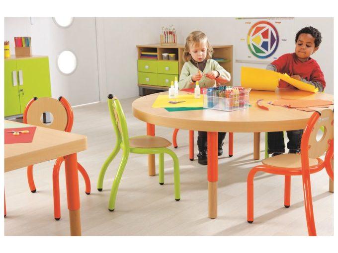 Verstellbarer Tisch rund - mit dicker Platte 4