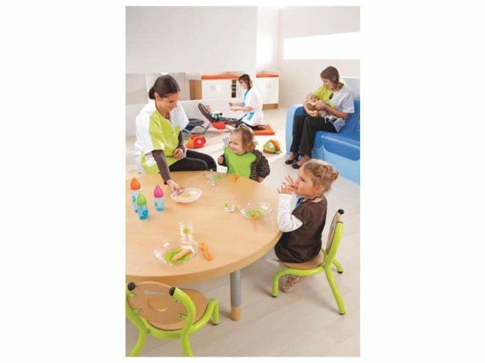 Verstellbarer Tisch rund - mit dicker Platte 6