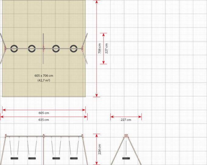 LEDON 4er Reifenschaukel in verschiedenen Designs 17