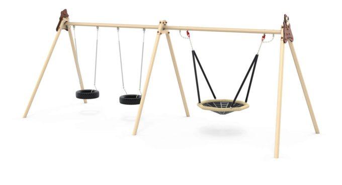 LEDON Schaukelkombination mit zwei Reifen und einem Vogelnest - verschiedene Designs 3