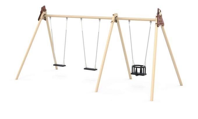 LEDON Schaukelkombination mit zwei Schaukeln und einem Babysitz - verschiedene Designs 3