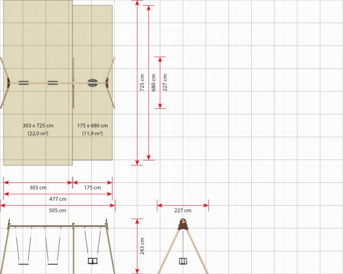 LEDON Schaukelkombination mit zwei Schaukeln und einem Babysitz - verschiedene Designs 10