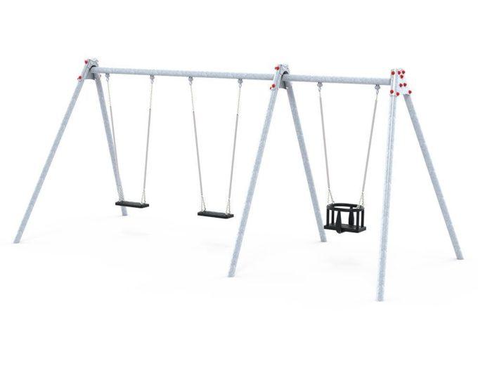 LEDON Schaukelkombination mit zwei Schaukeln und einem Babysitz - verschiedene Designs 2