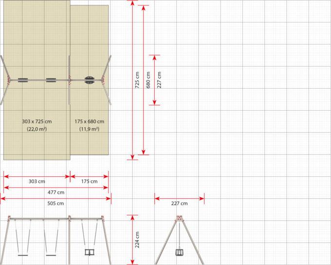 LEDON Schaukelkombination mit zwei Schaukeln und einem Babysitz - verschiedene Designs 9