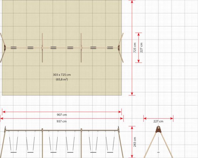LEDON große Schaukel mit 6 Sicherheitssitzen - verschiedene Designs 10