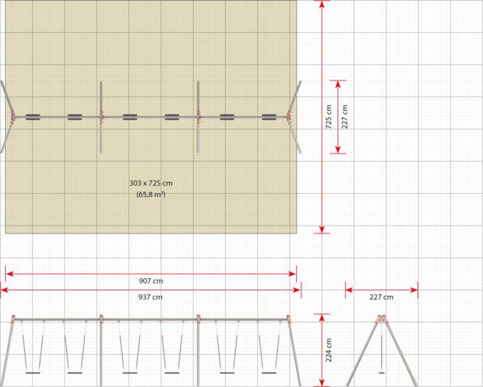 LEDON große Schaukel mit 6 Sicherheitssitzen - verschiedene Designs 9