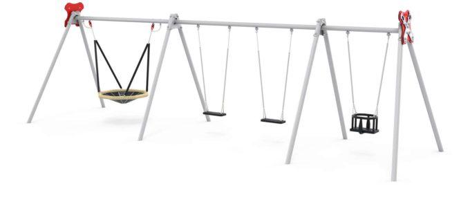 LEDON Schaukelkombination mit 2 Sicherheitssitzen, 1 Babysitz und 1 Vogelnest - verschiedene Designs 4