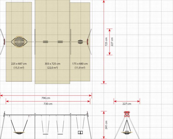 LEDON Schaukelkombination mit 2 Sicherheitssitzen, 1 Babysitz und 1 Vogelnest - verschiedene Designs 14