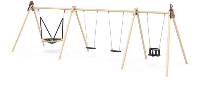 LEDON Schaukelkombination mit 2 Sicherheitssitzen, 1 Babysitz und 1 Vogelnest - verschiedene Designs 3