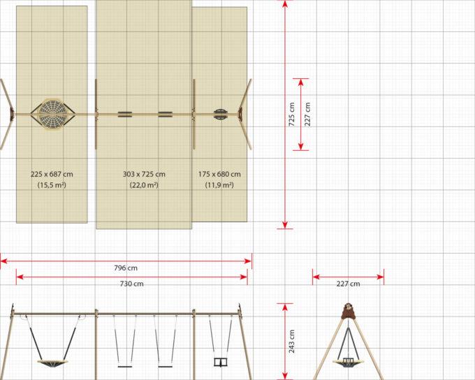 LEDON Schaukelkombination mit 2 Sicherheitssitzen, 1 Babysitz und 1 Vogelnest - verschiedene Designs 13