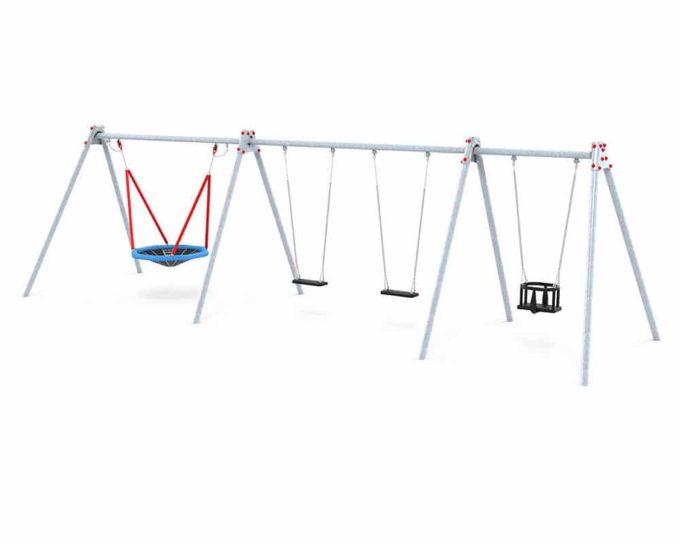 LEDON Schaukelkombination mit 2 Sicherheitssitzen, 1 Babysitz und 1 Vogelnest - verschiedene Designs 2