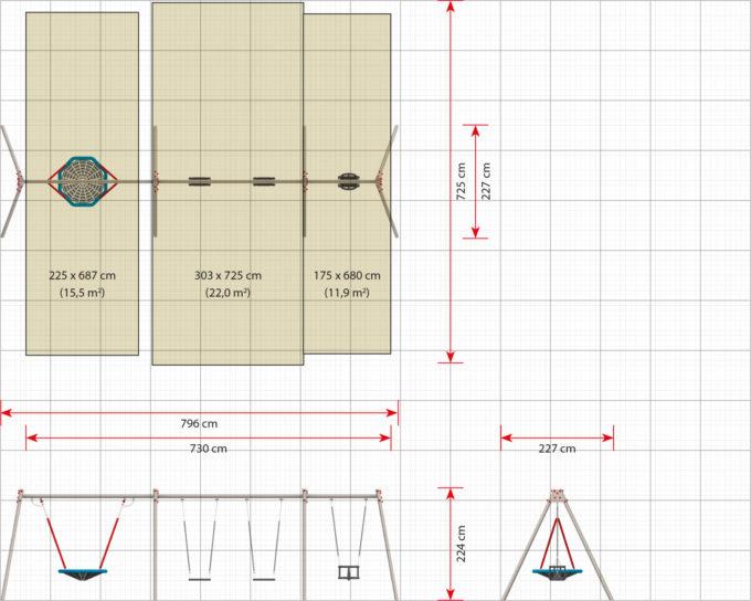LEDON Schaukelkombination mit 2 Sicherheitssitzen, 1 Babysitz und 1 Vogelnest - verschiedene Designs 12