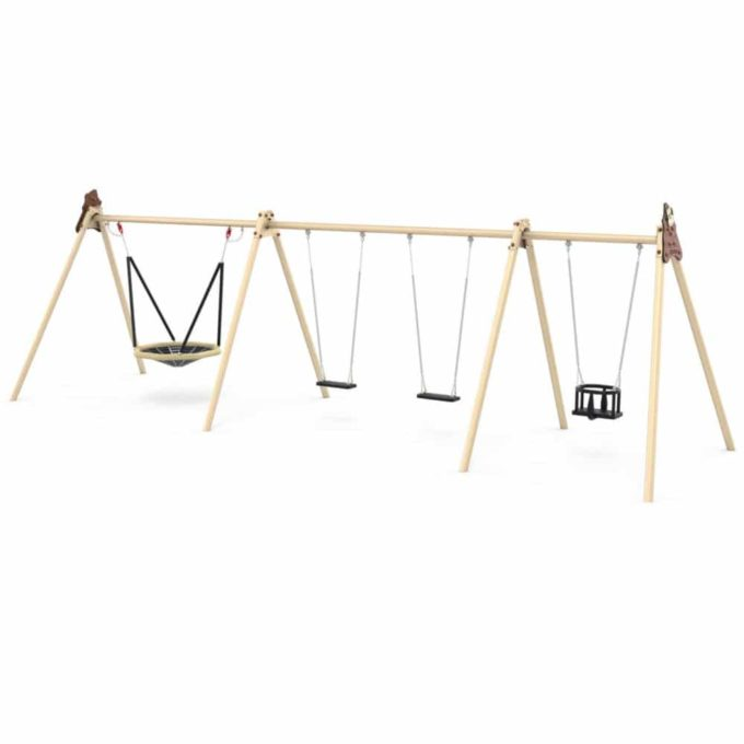 LEDON Schaukelkombination mit 2 Sicherheitssitzen, 1 Babysitz und 1 Vogelnest - verschiedene Designs 1