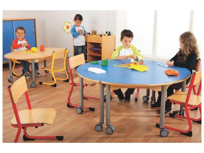 Tisch halbrund 120x60 cm - mit beschichteter Tischplatte mit Beinen aus grauem Metall und Rollrädern 5