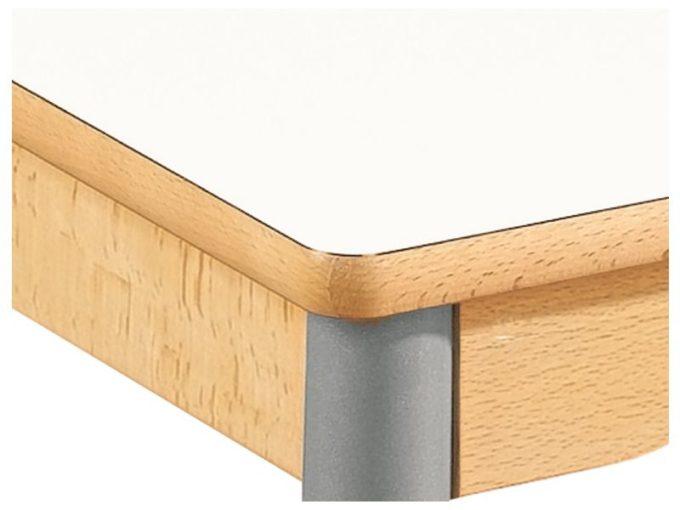 Tisch rund - mit beschichteter Tischplatte mit Beinen aus grauem Metall und Rollrädern 4