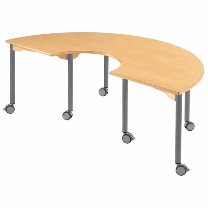 Hufeisentisch - mit beschichteter Tischplatte mit Beinen aus grauem Metall und Rollrädern 1