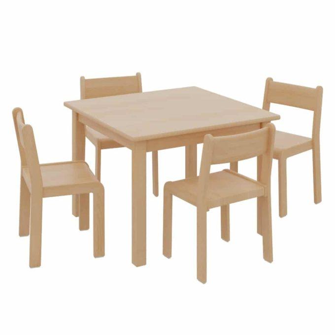 Quadrattisch mit 4 TIM-Stühlen 1