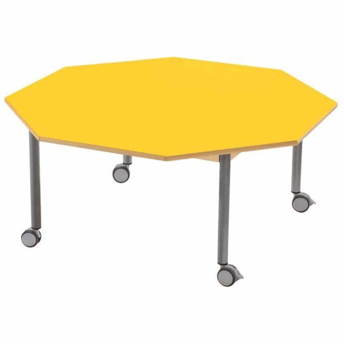 Tisch achteckig - mit beschichteter Tischplatte mit Beinen aus grauem Metall und Rollrädern 1
