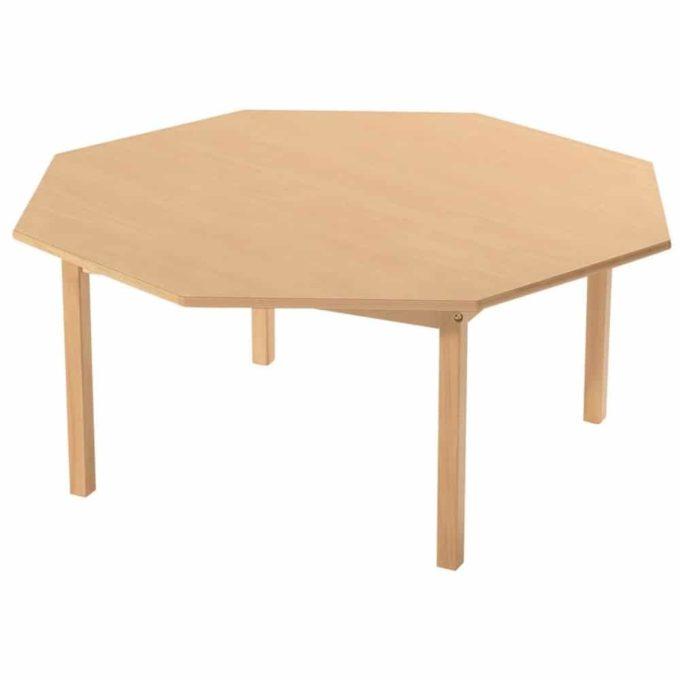 Tisch achteckig - mit beschichteter Tischplatte mit Beinen aus Holz 1