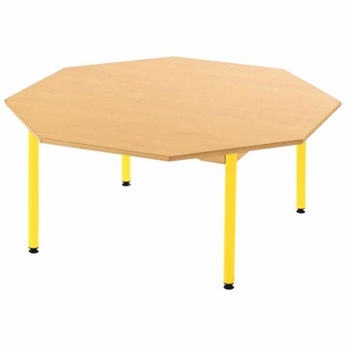 Tisch achteckig - mit beschichteter Tischplatte mit Beinen aus Metall 1