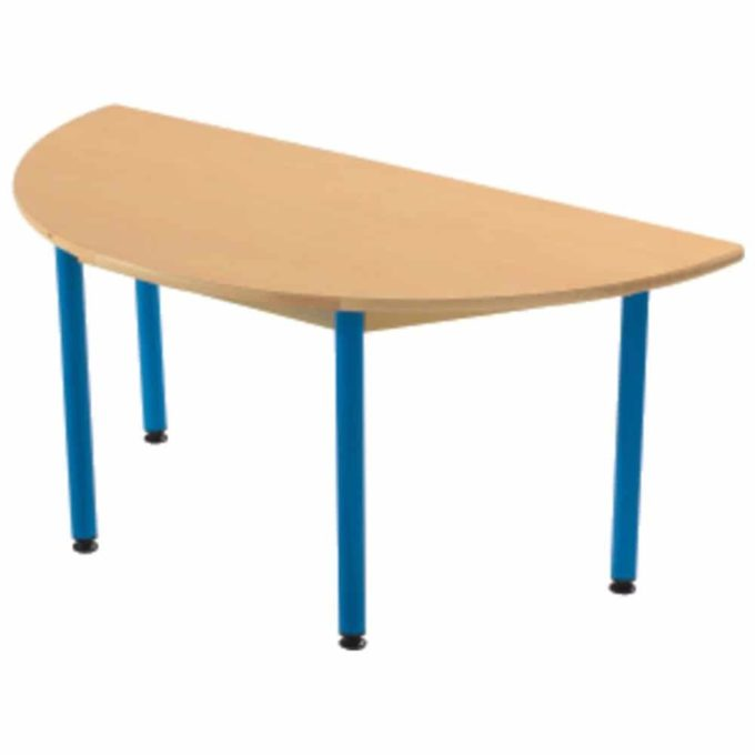 Tisch halbrund 120x60 cm - mit beschichteter Tischplatte mit Beinen aus Metall 1