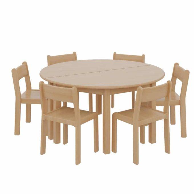 2 Halbrundtische mit 6 TIM-Stühlen 1