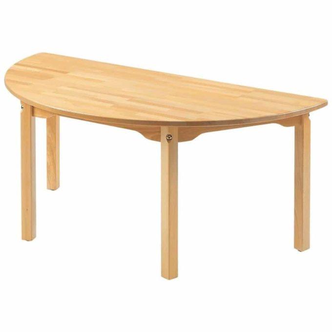 Tisch halbrund - aus 100% massiver Buche - Beine aus Holz 1