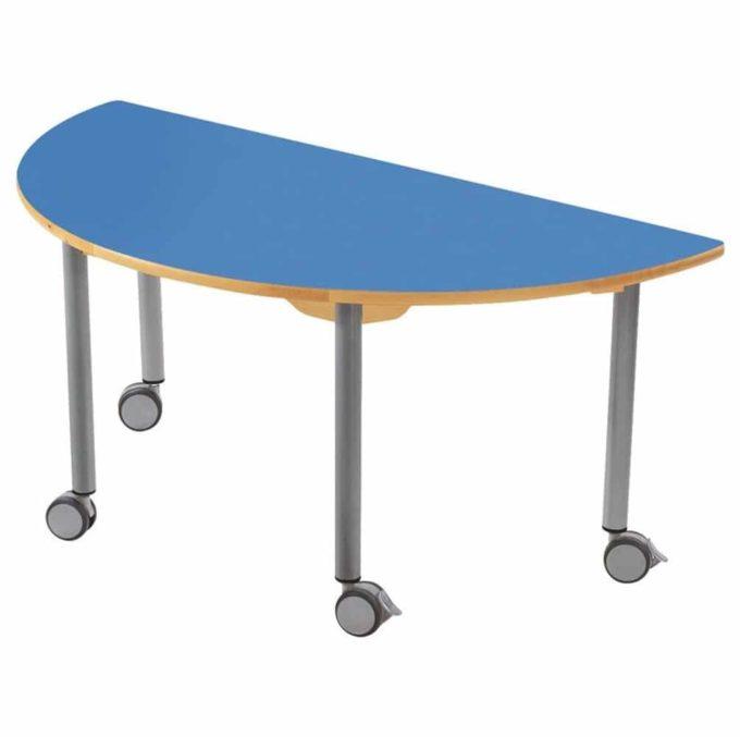 Tisch halbrund 120x60 cm - mit beschichteter Tischplatte mit Beinen aus grauem Metall und Rollrädern 1