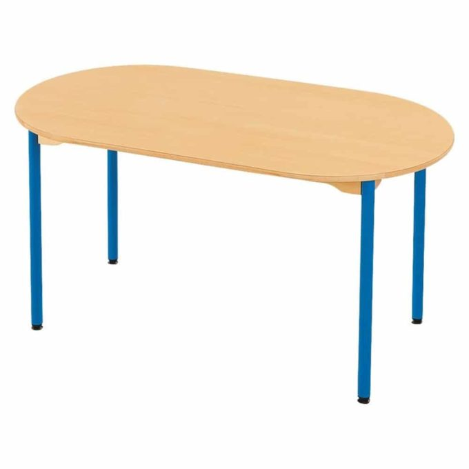 Tisch oval - mit beschichteter Tischplatte mit Beinen aus Metall 1