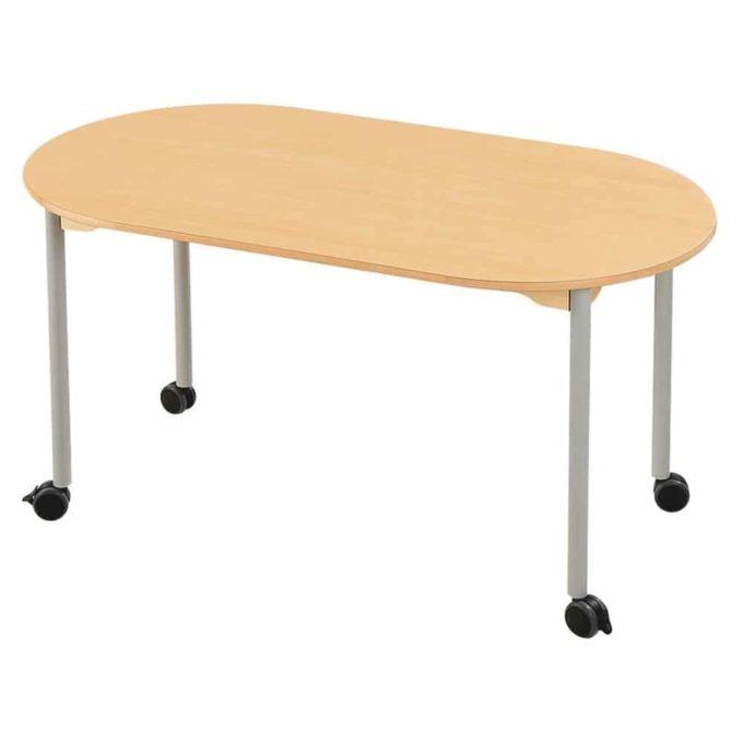 Tisch oval - mit beschichteter Tischplatte mit Beinen aus grauem Metall und Rollrädern 1