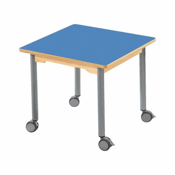 Tisch quadratisch 60x60 cm - mit beschichteter Tischplatte mit Beinen aus grauem Metall und Rollrädern 1