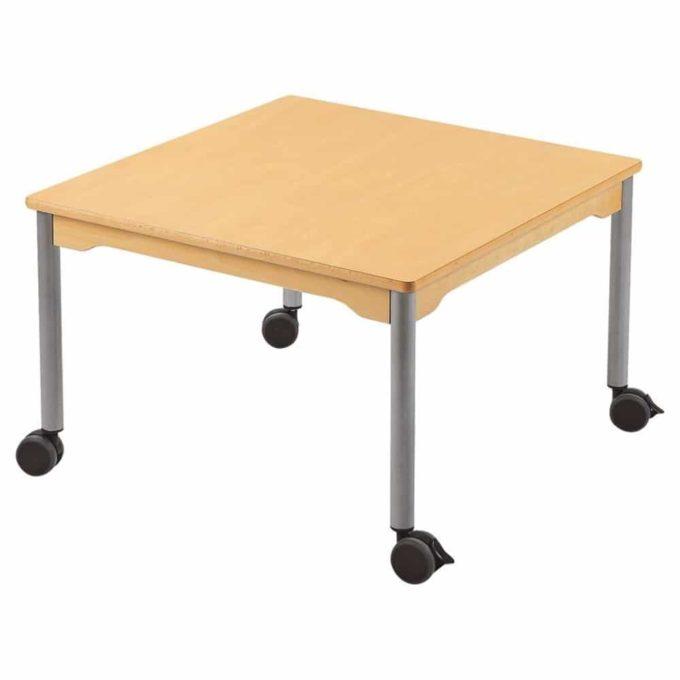 Tisch quadratisch 80x80 cm - mit beschichteter Tischplatte mit Beinen aus grauem Metall und Rollrädern 1