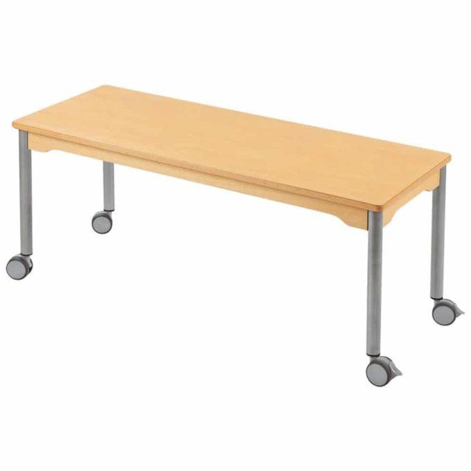 Tisch rechteckig 130x50 cm - mit beschichteter Tischplatte mit Beinen aus grauem Metall und Rollrädern 1