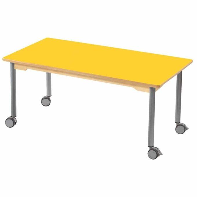 Tisch rechteckig 120x60 cm - mit beschichteter Tischplatte mit Beinen aus grauem Metall und Rollrädern 1