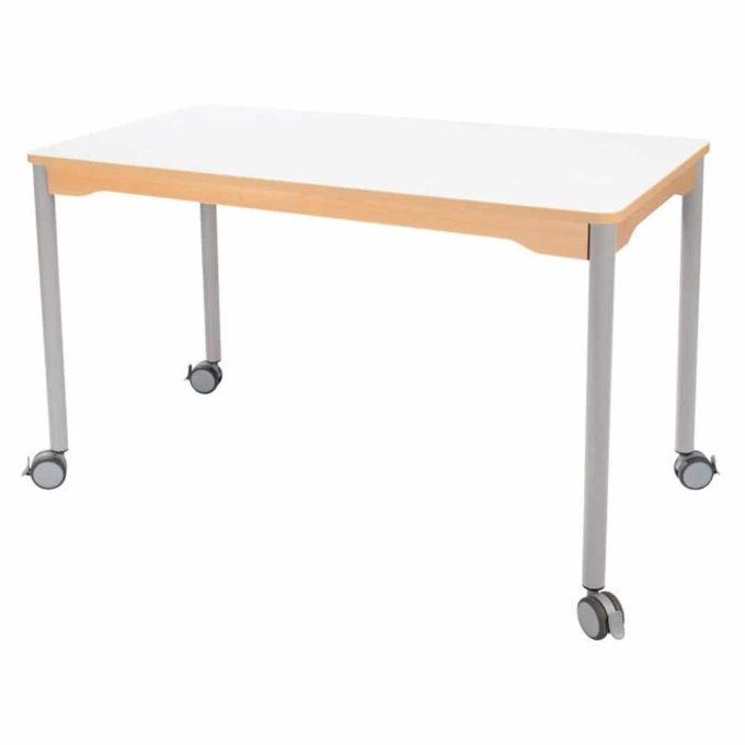 Tisch rechteckig 120x60 cm - mit Metallbeinen und Rädern 1