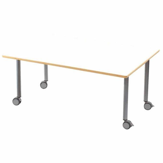 Tisch rechteckig 120x80 cm - mit beschichteter Tischplatte mit Beinen aus grauem Metall und Rollrädern 1