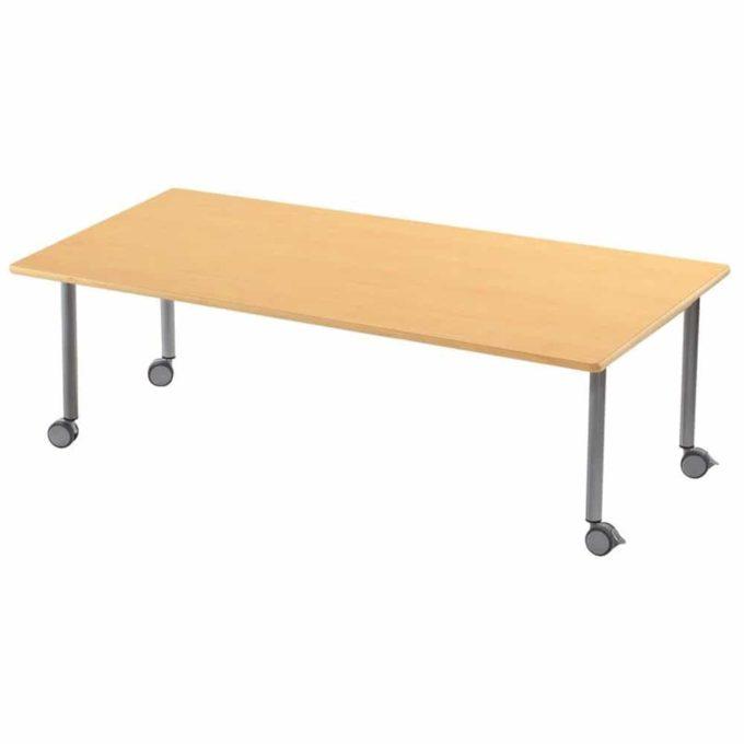 Tisch rechteckig 160x80 cm - mit beschichteter Tischplatte mit Beinen aus grauem Metall und Rollrädern 1