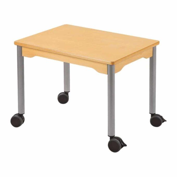 Tisch rechteckig 70x50 cm - mit beschichteter Tischplatte mit Beinen aus grauem Metall und Rollrädern 1