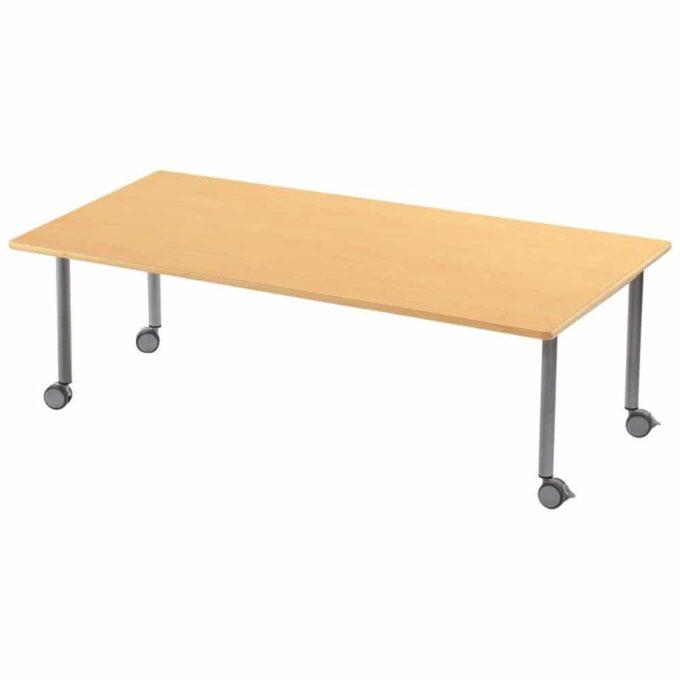 Tisch rechteckig 160x80 cm - mit geräuscharmer Platte - Beinen aus Metall und Rollen 1