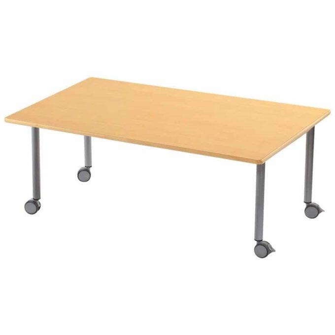 Tisch rechteckig 120x80 cm - mit geräuscharmer Platte - Beinen aus Metall und Rollen 1