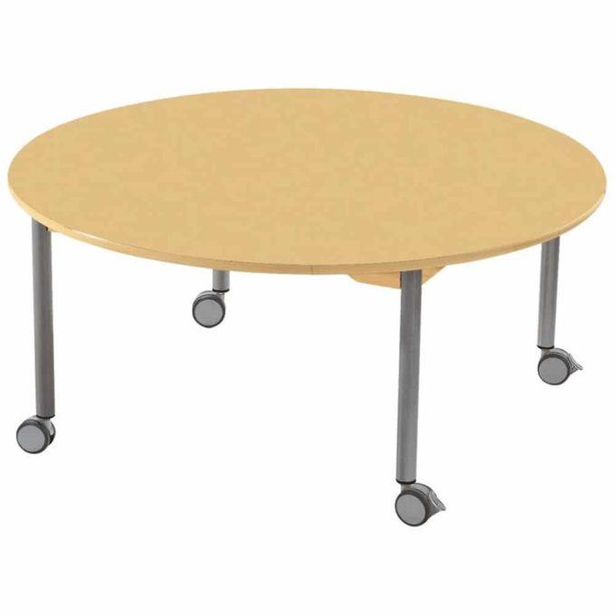 Tisch rund - mit geräuscharmer Platte - Beinen aus Metall und Rollen 1