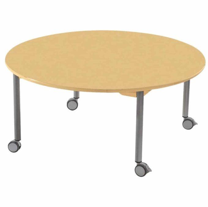 Tisch rund - mit beschichteter Tischplatte mit Beinen aus grauem Metall und Rollrädern 1
