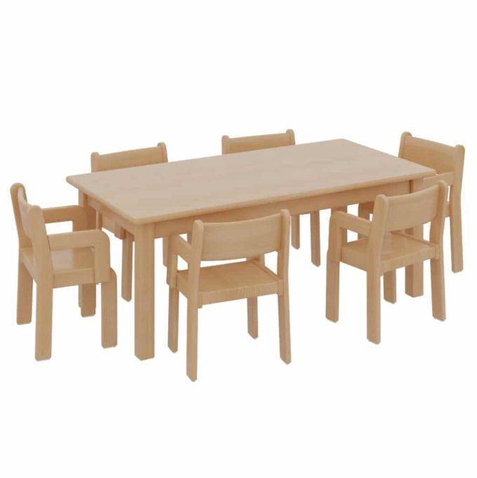 Rechtecktisch mit 6 TIM-Armlehnenstühlen 1